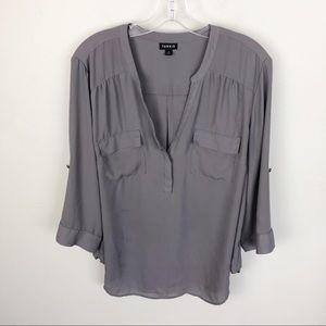 Torrid Gray Blouse V Neck Long Sleeve Pockets 1X